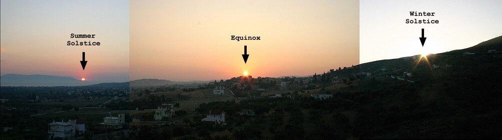 winter + summer solstice - sites in Greece (NASA 12-21 2005)