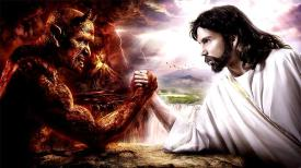 seven-deadly-sins - devil and Jesus arm wrestle